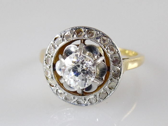18 carats Or, Platine - Bague - 0.40 ct Diamant - Diamant