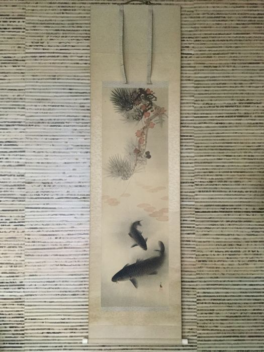 Antique scroll painted on silk - Koi carp - With the