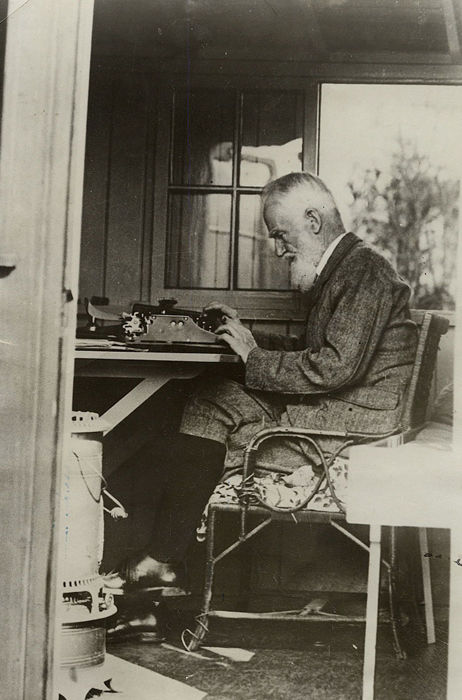 Unknown/Associated Press Photos - George Bernard Shaw Writes in his Revolving Hut, 1929