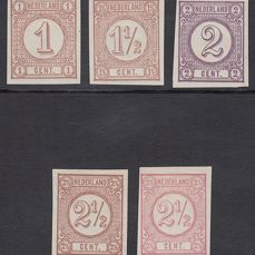 Alankomaat 1876 - Figure, selection of imperforated colour tests