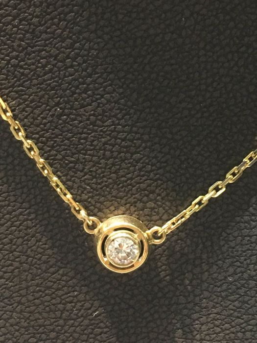 Gold necklace (18 kt) with natural diamond - Length: 41.5 cm