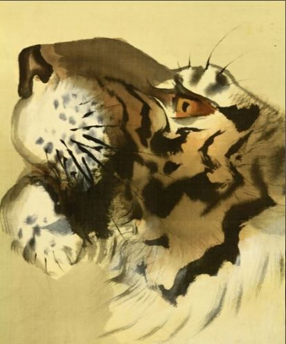 """Hand painted hanging scroll - Signed 'Shodo' 章堂 - """"Tiger"""" - Japan - ca. 1930-40 (Showa Period)"""