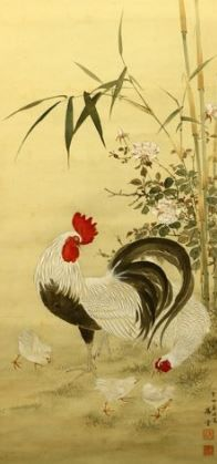 Hand painted hanging scroll - Signed 'Shodo' 昇堂 - Chickens under bamboo tree - Japan - 1903 (Meiji 36 癸卯)