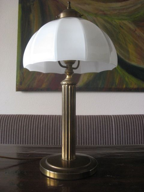 Unknown Designer Table Lamp With A White Milk Glass Shade Catawiki
