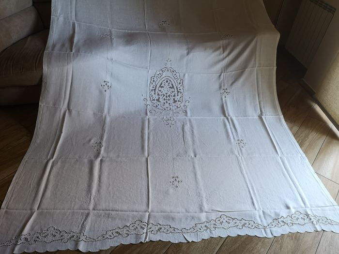 210x300cm - Pure linen curtain embroidery carving by hand - Linen