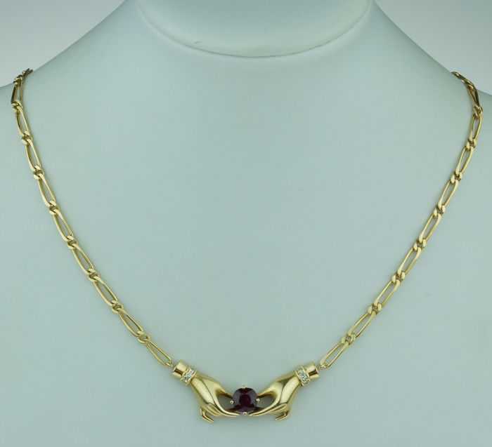 Exclusive handmade 18 kt gold women's necklace diamond ruby