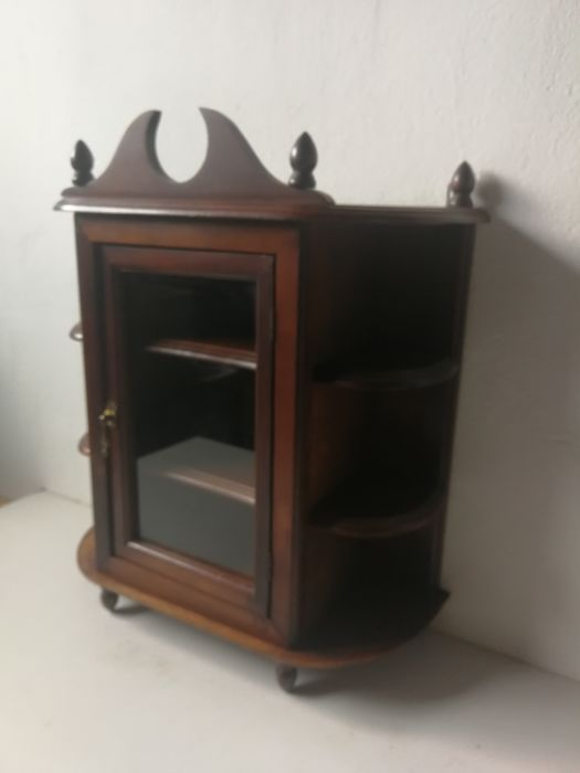 Wooden Display Case Cabinet With Glass Door   For Small Silverware And/or  Other Collections   Wood   Mahogany