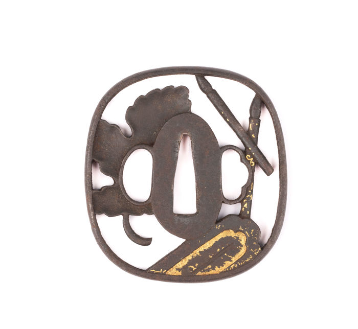Iron Sukashi Tsuba - Kyo-Schoami School - Gold Inlay - Tanabata - Japan - 18th/19th century