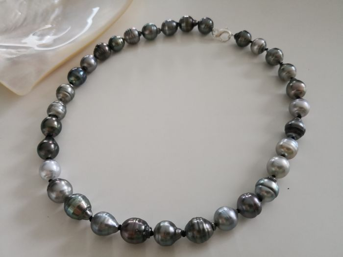 Tahitian Pearls 11-12 mm drop shape natural colors and luster, 32 pieces.  No reserve
