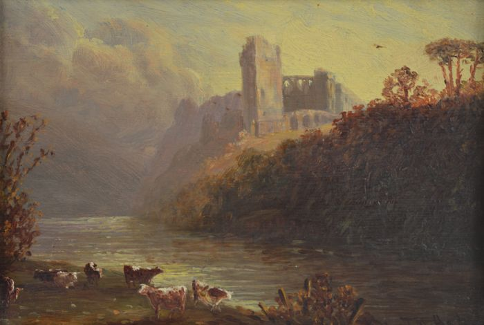 English school  - A landscape with cattle with castle beyond