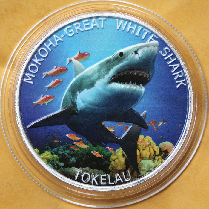 Tokelau-eilanden - 5 Dollar 2015 - Mokoha-Great White Shark - 1 Oz Colorized - Zilver
