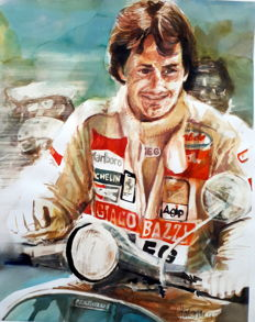 Original watercolor by Gilberto Gaspar  -  Gilles Villeneuve - 2018 (1 artigos)