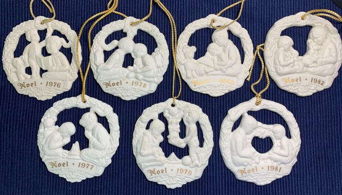 Gorham Joys of Christmas Medallion Noel Series - Christmas Tree Ornaments - Complete collection of 7 - Parian Porcelain