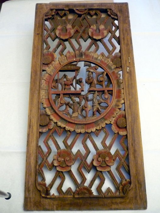 Hand Carved Wood Panel - Framed - China – late 19th