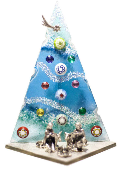 6 X MURANO Christmas trees - 6 - Glass (stained glass)