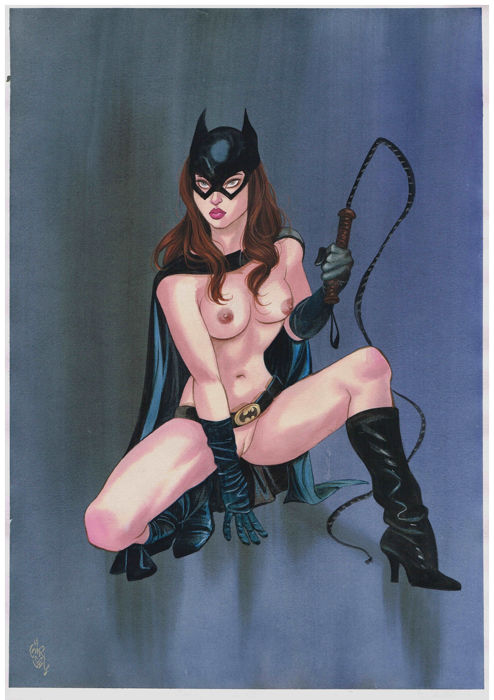 Gürsel, Gürçan - Originele aquarel - Pin-up - Catwoman - (2018)