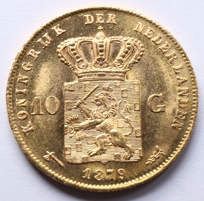 The Netherlands - 10  Gulden 1879 Willem III - Gold