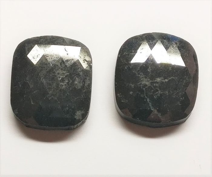 2 pcs Diamantes - 28.53 ct - Almofada - fancy black - N/A