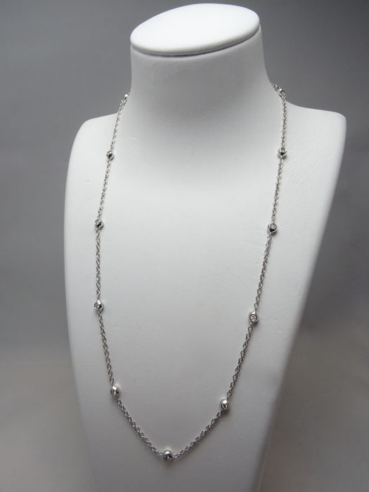 18 kt. White gold - Necklace - 0.50 ct Diamond