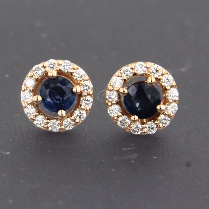 Used, 14 kt. Pink gold - Earrings Diamond - Sapphire for sale  London