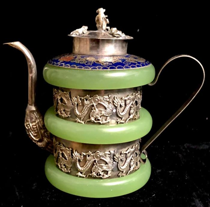 A, vintage ,amazing ,green  jade ,enamel cloisonne - and silver plated , teapot and cover - with imperial dragons in relief  - . - 1950-1999