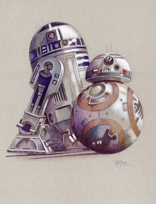 """Star Wars - Lithografie Set of 14  - limited edition - """"Droids"""" A4 - with Coa"""