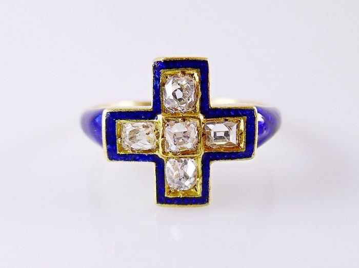 18 kt. Enamel, Gold - Ring - 0.50 ct Diamond