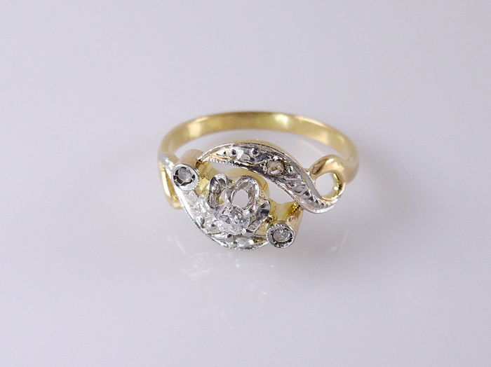 18 kt Gold - Ring - 0.10 ct Diamant - Diamant