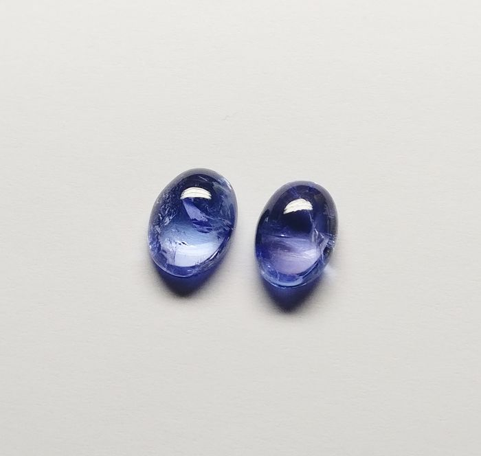 2 pcs Violetish Blue Tanzaniet - 8.73 ct
