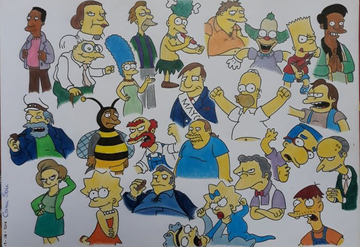 Simpsons - original illustr. - Loose page - First edition - (2016)