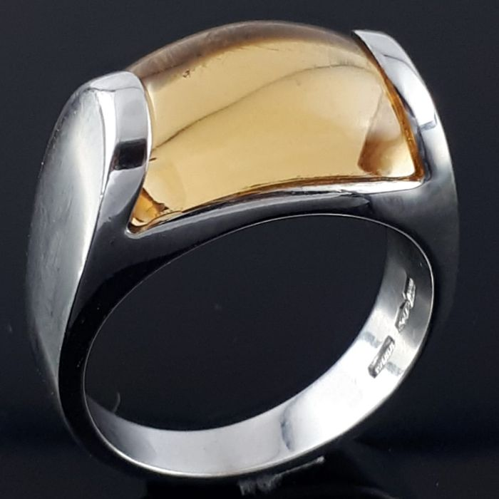 Bvlgari - 18 carats Or - Bague Tronchetto Citrine