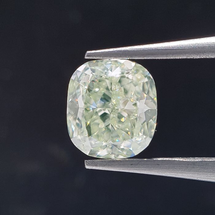 Diamant - 1.11 ct - Coussin - Natural Fancy Light Yellow - Green - GIA Full Certified, VS1