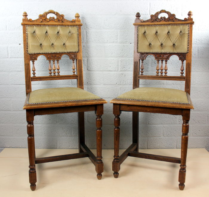 Antique Eclectic Style chairs - Pair of 2 - Oak and Velvet ...
