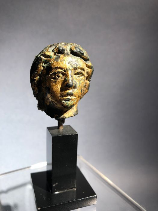 Ancient Roman Gilded Bronze Head, Probably of Emperor Constantine I - 4.2 cm