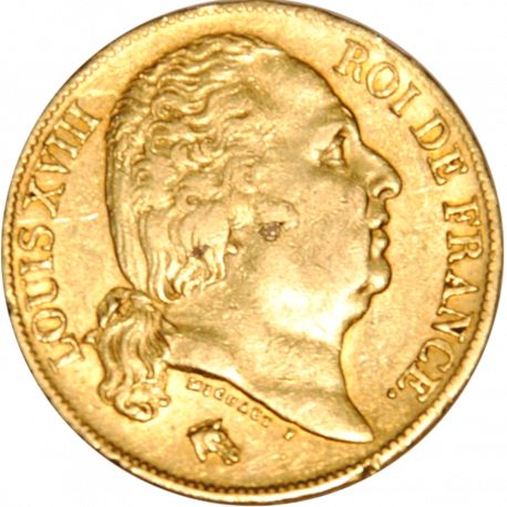 20 Francs 1818-A Louis XVIII - Or