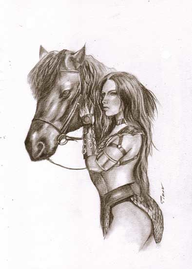 Red Sonja and Horse original drawing 42 x 30 cm - Red Sonja and Horse  - First edition (2018)