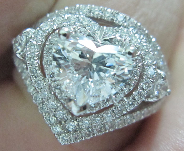 Pt 900 Platin - Ring - 1.01 ct Diamant - Diamonds