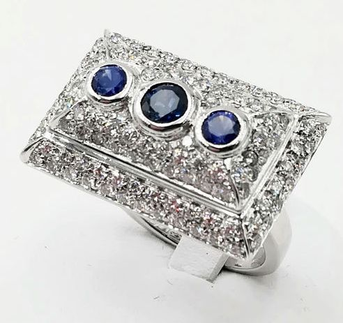 Ring - White gold - Commonly treated - 1.34 ct - Diamond and sapphire