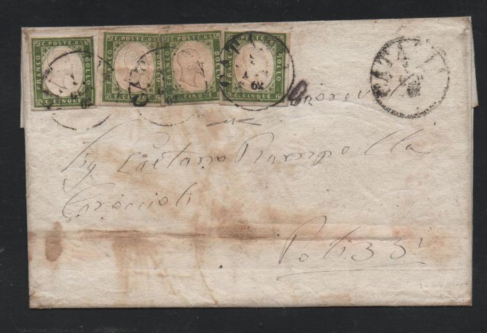 Sardinië 1861 - 5 cents four pieces with different colours on letter from Catania to Polizzi - Sassone NN. 13C, 13 Ca, 13Cc