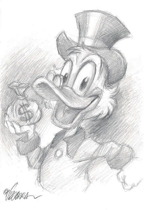 Happy Uncle Scrooge - Original Drawing - Joan Vizcarra  - First edition