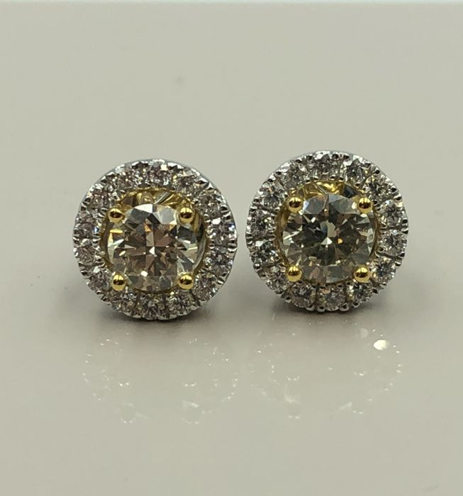 18 carats Or - Boucles d'oreilles - 0.80 ct Diamant - Diamant