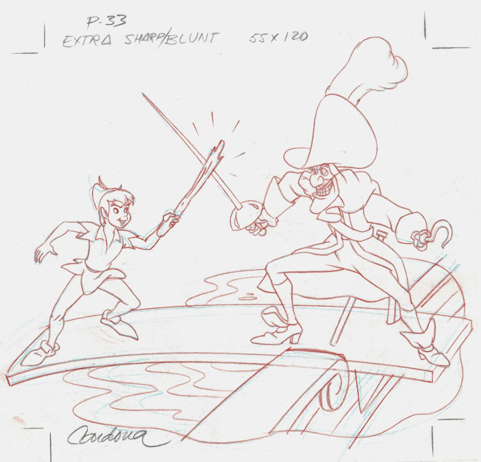 Peter Pan and Captain Hook Fight Scene - Original Production Drawing - JM Cardona - First edition - (1990)