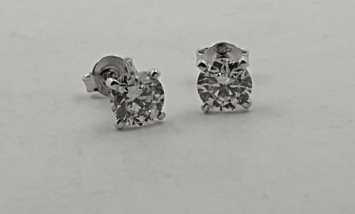14 kt. Kulta, Valkokulta - Korvakorut - Clarity enhanced 1.40 ct Timantti