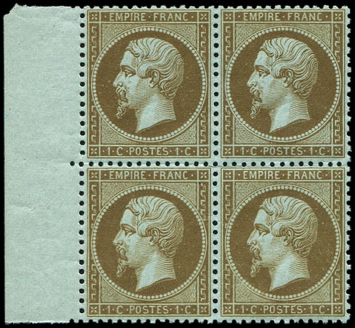 "France 1862 - Napoleon III - 1c ""golden brown"" block of 4, sheet edge, signed Calves - Yvert n°19b"