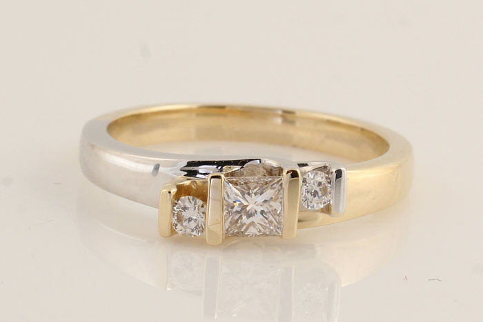 14 carats Or blanc - Bague - 0.28 ct Diamant - Diamant