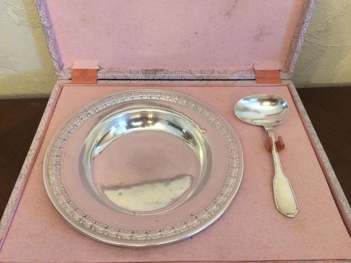 Solid silver plate and spoon 1910 Paris - .950 silver - Olier & Caron 1910 Paris  - France - Early 20th century