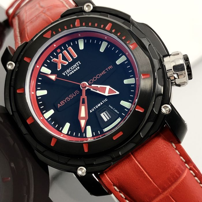 Visconti - Abyssus Full Dive 1000 Black PVD Red Tone - Croco Strap - KW51-03 - Men - NEW