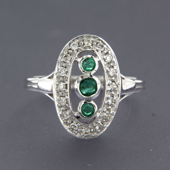 18 quilates Oro blanco - Anillo - 0.15 ct Diamante - Esmeralda