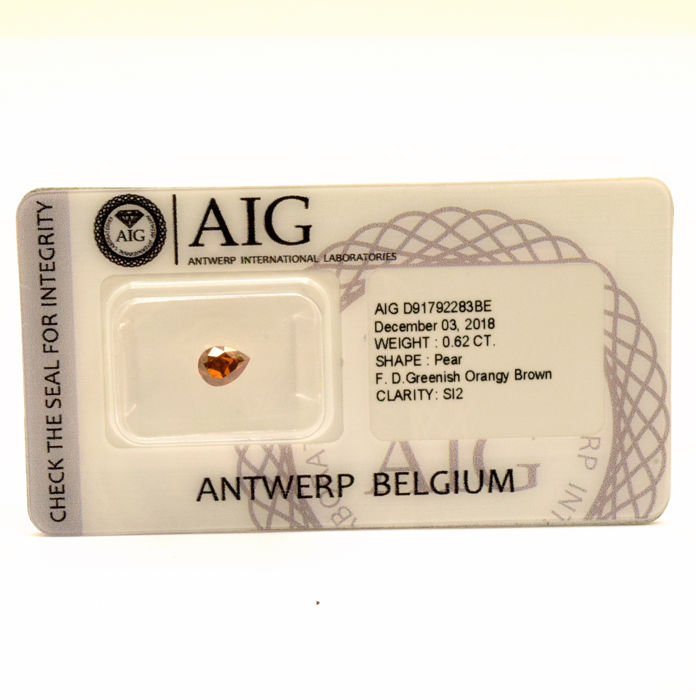 Diamanten - 0.62 ct - Peer - fancy orangy brown - SI2