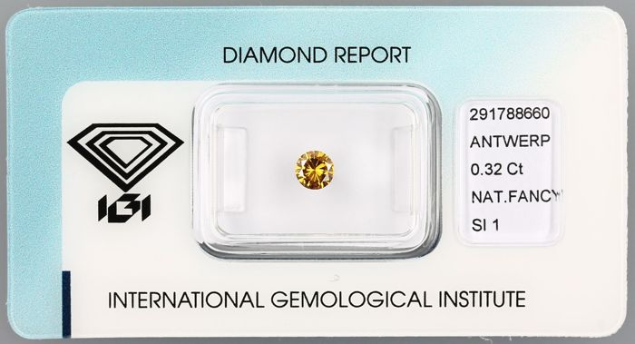 Diamant - 0.32 ct - Rond - fancy deep orangy yellow - SI1